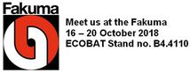 Meet us at the Fakuma, 16-20 October 2018, ECOBAT Stand no. B4.4110